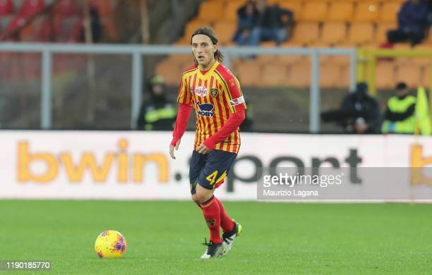 Jacopo Petriccione of Lecce during the Serie A match between US Lecce and Cagliari Calcio at Stadio Via del Mare on November 25 2019 in Lecce Italy