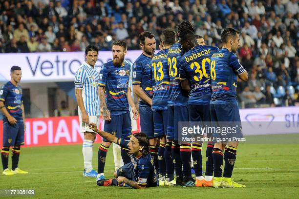 Jacopo Petriccione of US Lecce reacts prior a free kick during the Serie A match between SPAL and US Lecce at Stadio Paolo Mazza on September 25 2019...