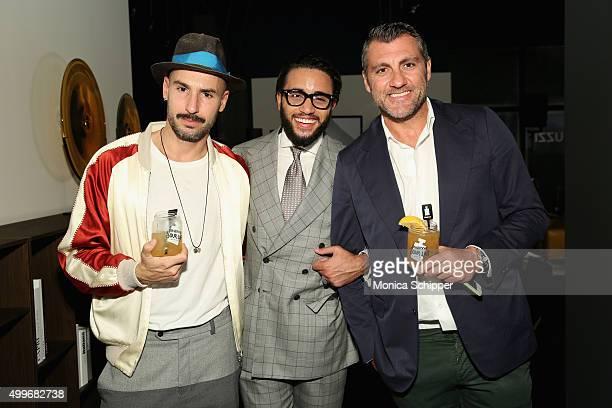 Jacopo Pozzati Pasquale Jr Natuzzi and Christian Vieri attend Natuzzi Art Miami Opening on December 2 2015 in Miami Florida