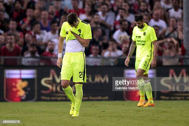 Jacopo Sala of Hellas Verona FC shows his dejection during the Serie A match between Genoa CFC and Hellas Verona FC at Stadio Luigi Ferraris on...