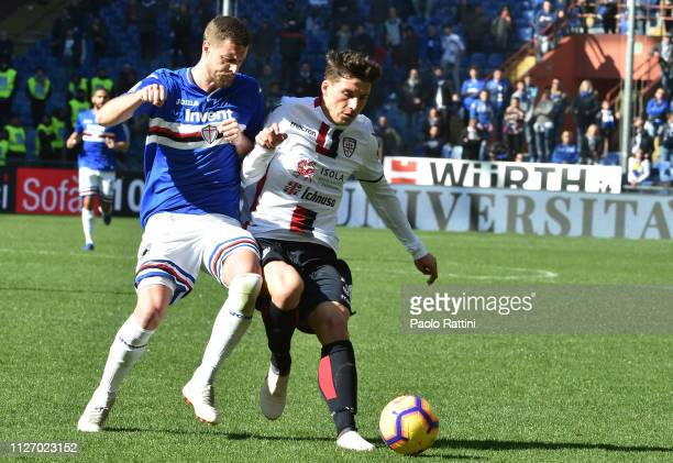 Jacopo Sala of UC Sampdoria and Riccardo Dortiotto of Cagliari during the Serie A match between UC Sampdoria and Cagliari at Stadio Luigi Ferraris on...