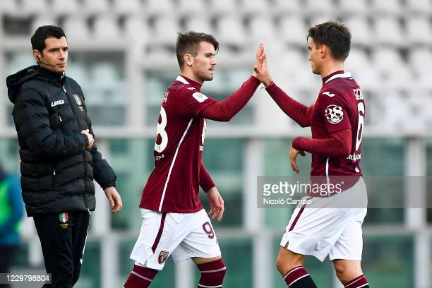 Jacopo Segre of Torino FC is replaced by Krisztofer Horvath of Torino FC during the Coppa Italia football match between Torino FC and Virtus Entella...