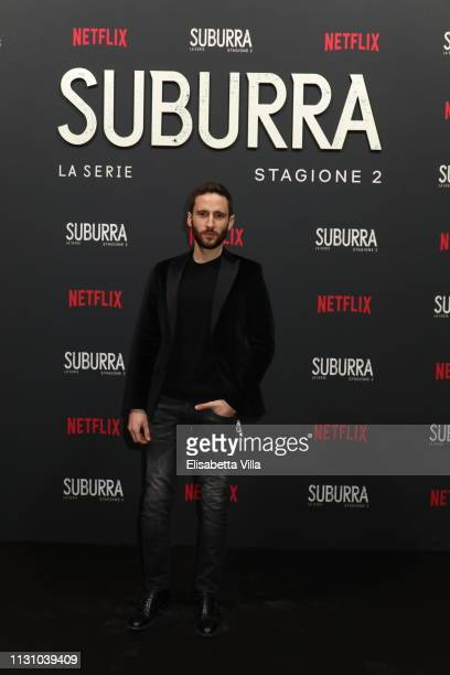Jacopo Venturiero attends the after party for Netflix Suburra The Series season 2 launch at Circolo Degli Illuminati on February 20 2019 in Rome Italy