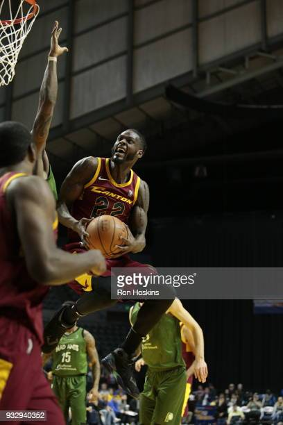 JaCorey Williams of the Canton Charge takes on a Mad Ants defender on March 16 2018 at Memorial Coliseum in Fort Wayne Indiana NOTE TO USER User...