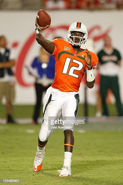 Jacory Harris of the Miami Hurricanes throws the ball against the Ohio State Buckeyes on September 17 2011 at Sun Life Stadium in Miami Florida The...
