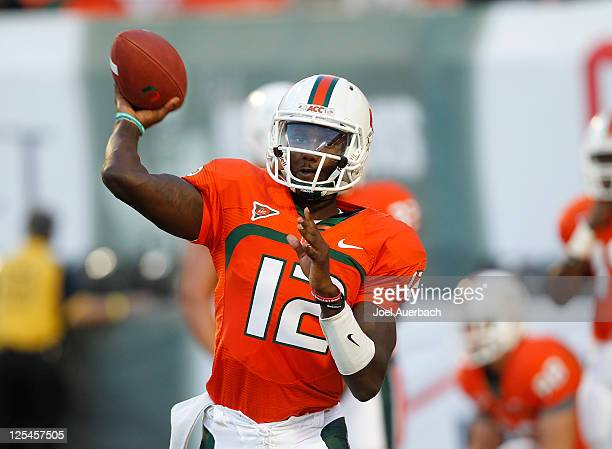 Jacory Harris of the Miami Hurricanes throws the ball prior to the game against the Ohio State Buckeyes on September 17 2011 at Sun Life Stadium in...