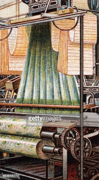 Jacquard Loom Power operated development of Joseph Marie Jacquard's invention showing swags of punched cards on which the pattern to be woven was...