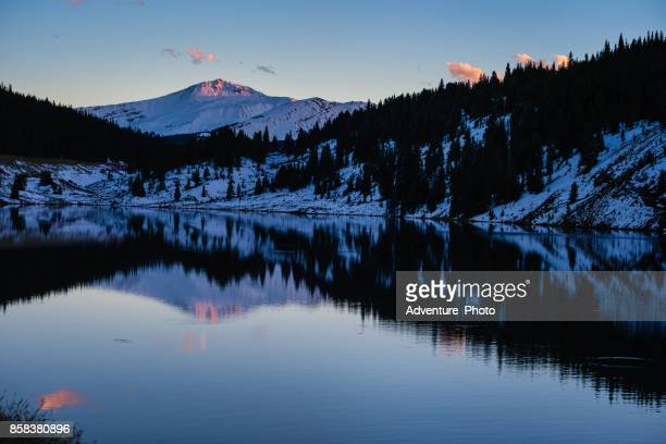 jacque peak tenmile range lake reflection sunset - gore range stock photos and pictures