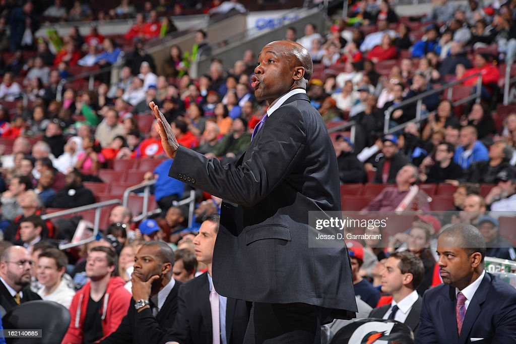 Jacque Vaughn of the Orlando Magic calls plays from the bench against the Philadelphia 76ers at the Wells Fargo Center on February 4, 2013 in Philadelphia, Pennsylvania.