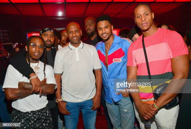 Jacquees Alex Gidewon and Trey Songz attend Birthday Bash Celebration Hosted by Lil Baby Trey Songz and YFN Lucci at Compound on June 17 2018 in...