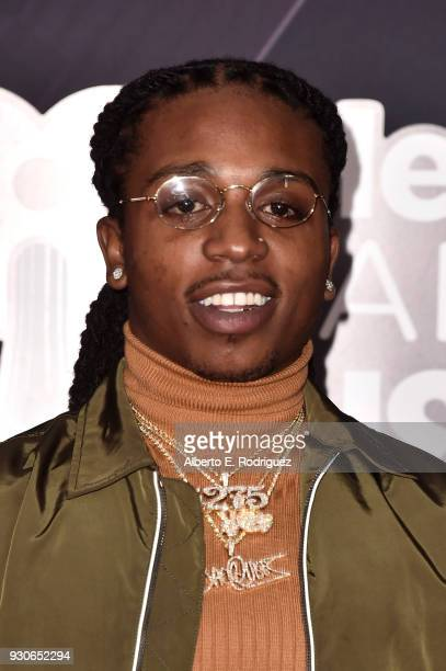 Jacquees arrives at the 2018 iHeartRadio Music Awards which broadcasted live on TBS TNT and truTV at The Forum on March 11 2018 in Inglewood...