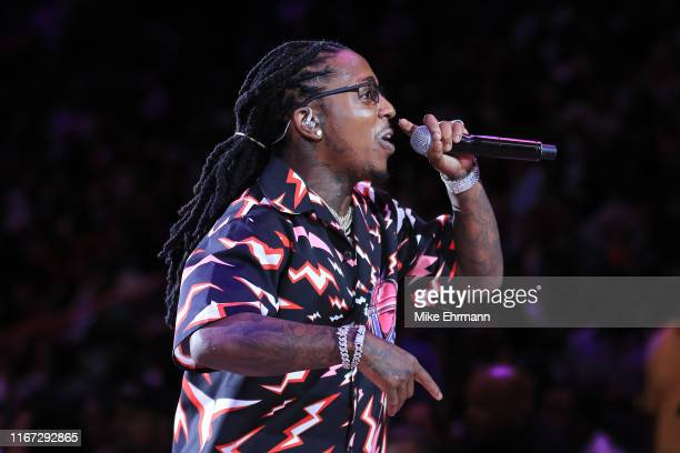 Jacquees performs during week eight of the BIG3 three on three basketball league at AmericanAirlines Arena on August 10, 2019 in Miami, Florida.