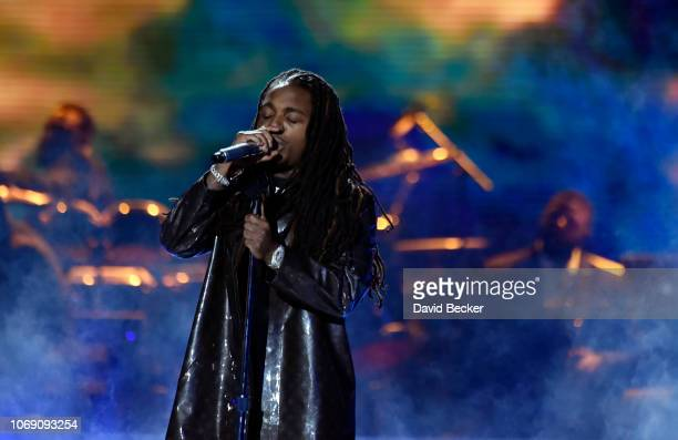 Jacquees performs onstage during the 2018 Soul Train Awards at the Orleans Arena on November 17 2018 in Las Vegas Nevada
