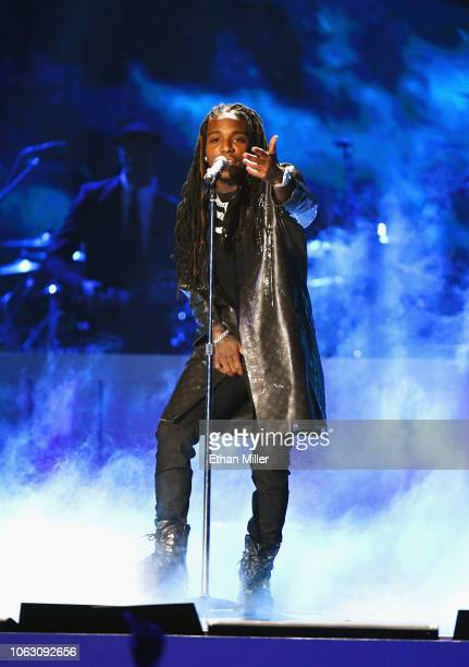 Jacquees performs onstage during the 2018 Soul Train Awards presented by BET at the Orleans Arena on November 17 2018 in Las Vegas Nevada