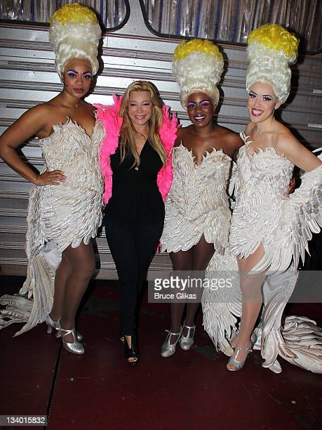 """Jacqueline B. Arnold, Taylor Dayne, Anastacia McCleskey; Esther Stillwell pose backstage at the musical """"Priscilla, Queen of the Desert"""" at The..."""