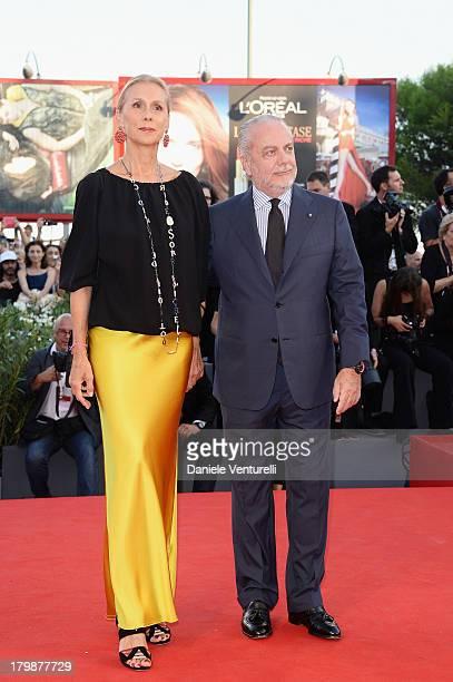 Jacqueline Baudit and Aurelio De Laurentiis arrive at the closing ceremony of the 70th Venice International Film Festival at Palazzo del Cinema on...