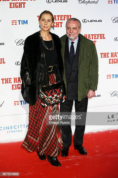 Jacqueline Baudit and Aurelio De Laurentiis walk the red carpet for 'The Hateful Eight' premiere on January 28 2016 in Rome Italy