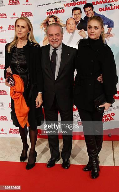 Jacqueline Baudit Aurelio De Laurentiis and Daughter attend the 'Posti In Piedi In Paradiso' premiere at Auditorium Parco Della Musica on February 23...