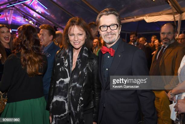 Jacqueline Bisset and Gary Oldman attend the Great British Film Reception honoring the British nominees of The 90th Annual Academy Awards on March 2...