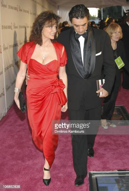Jacqueline Bisset and guest during 13th Annual Elton John AIDS Foundation Oscar Party Cohosted by Chopard Red Carpet at Pacific Design Center in West...
