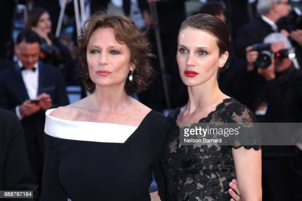Jacqueline Bisset and Marine Vacth attend the 'Amant Double ' screening during the 70th annual Cannes Film Festival at Palais des Festivals on May 26...