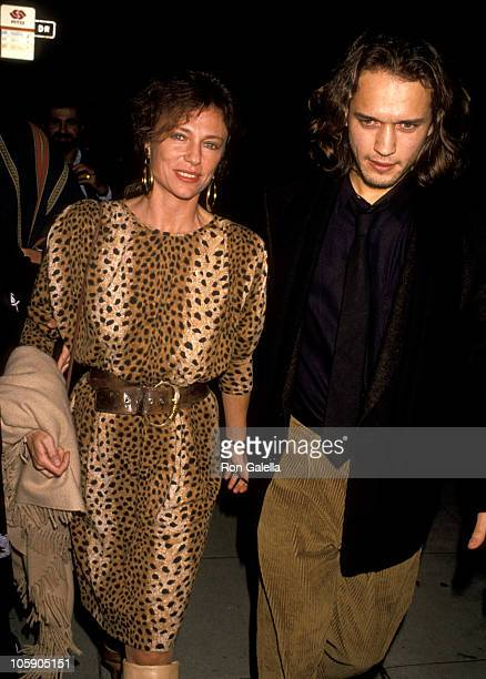 Jacqueline Bisset and Vincent Perez during 'Valmont' Los Angeles Premiere November 14 1989 at Academy Theater in Beverly Hills California United...