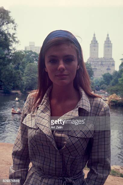 Jacqueline Bisset in the park wearing a checked jacket circa 1970 New York