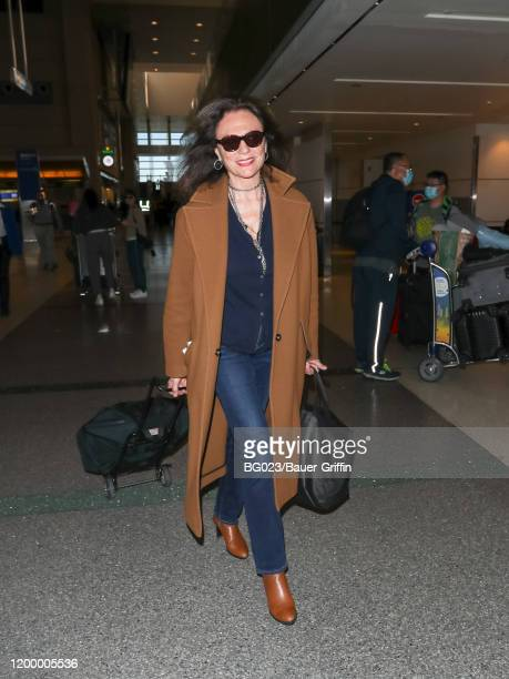 Jacqueline Bisset is seen at Los Angeles International Airport on February 10, 2020 in Los Angeles, California.