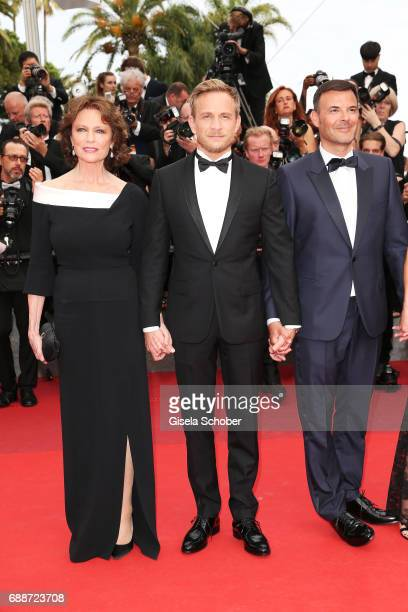 Jacqueline Bisset Jeremie Renier and director Francois Ozon attend the 'Amant Double ' screening during the 70th annual Cannes Film Festival at...