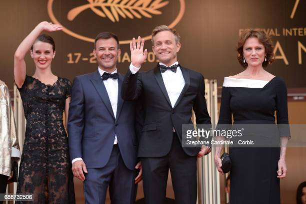 Jacqueline Bisset Jeremie Renier director Francois Ozon and Marine Vacth attend 'Amant Double ' Red Carpet Arrivals during the 70th annual Cannes...