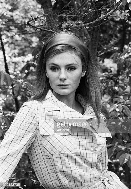 Jacqueline Bisset portrait in checked coat circa 1970 New York