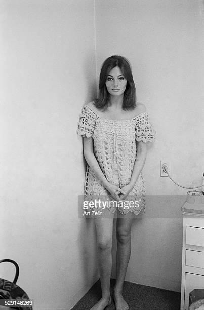 Jacqueline Bisset wearing a crochet dress; circa 1970; New York.