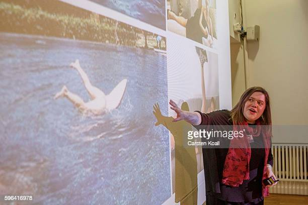 Jacqueline Bourke of Getty Images speaks during the EyeEm photofestival at Heimathafen Neukoelln on August 27 2016 in Berlin Germany