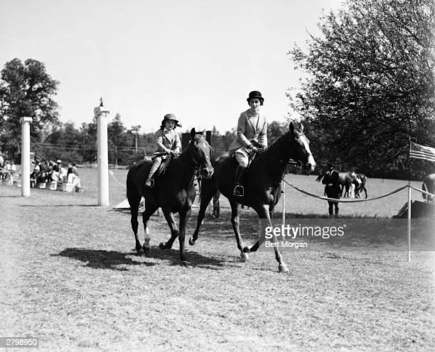 Jacqueline Bouvier and her mother Janet Lee Bouvier ride together at the Smithtown Horse Show Long Island New York 1935