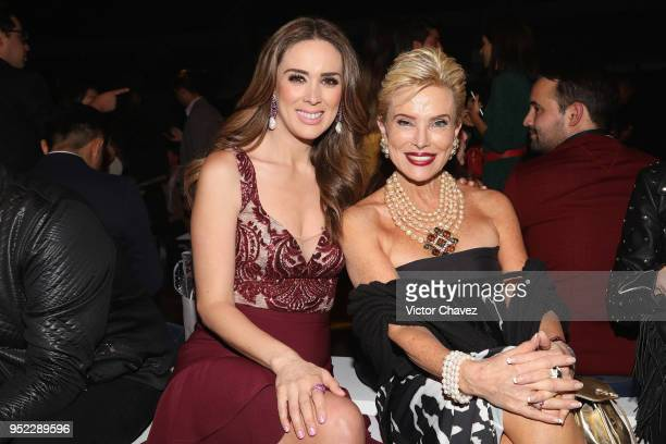 Jacqueline Bracamontes and Raquel Bessudo attend the day 6 of Mercedes Benz Fashion Week Mexico Fall/Winter 2018 at Fronton Mexico on April 27 2018...
