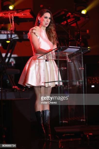 Jacqueline Bracamontes speaks on stage during the Latin Grammy Acoustic Session Mexico at El Lago restaurant on January 24 2018 in Mexico City Mexico