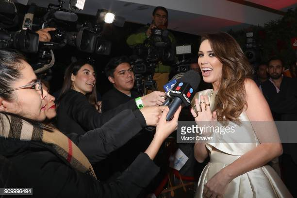 Jacqueline Bracamontes speaks with the media during the Latin Grammy Acoustic Session Mexico at El Lago restaurant on January 24 2018 in Mexico City...