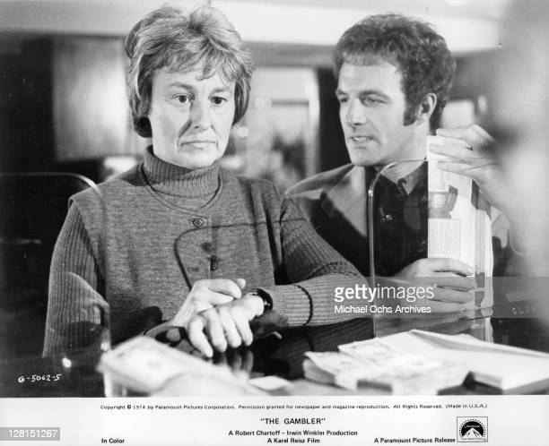 Jacqueline Brookes with her son James Caan in a scene from the film 'The Gambler' 1974