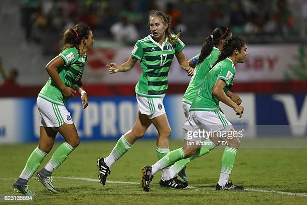 Jacqueline Crowther of Mexico celebrates scoring a goal during the FIFA U20 Women's World Cup Group D match between Mexico and Korea Republic at...