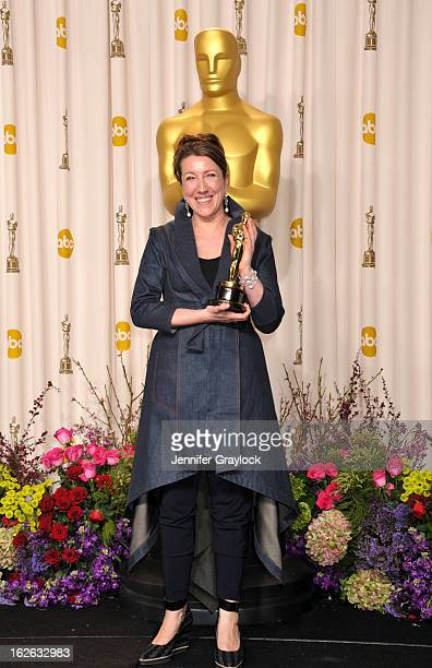 Jacqueline Durran poses in the press room during the 85th Annual Academy Awards held at Hollywood Highland Center on February 24 2013 in Hollywood...