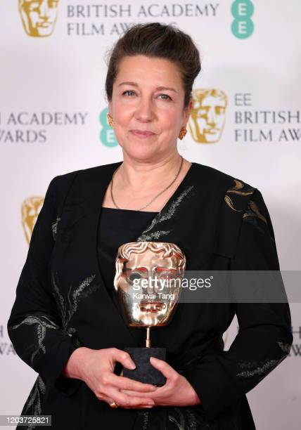 Jacqueline Durran poses in the Winners Room during the EE British Academy Film Awards 2020 at Royal Albert Hall on February 02 2020 in London England
