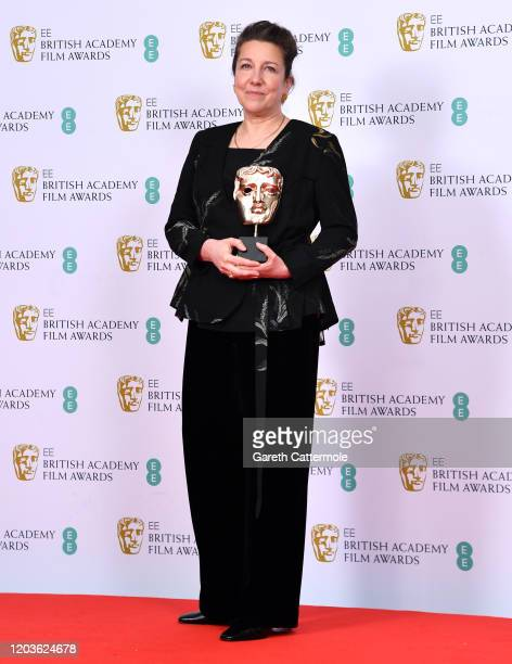 Jacqueline Durran with the Best Costume Design award poses in the Winners Room during the EE British Academy Film Awards 2020 at Royal Albert Hall on...