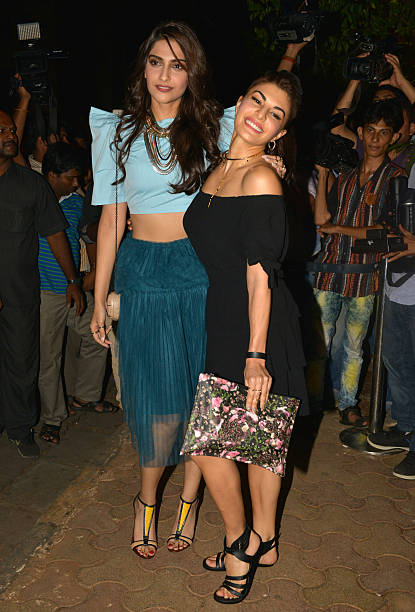Jacqueline Fernandez and Sonam Kapoor at the success bash hosted by Varun Dhawan and Shraddha Kapoor for their movie ABCD 2 in Mumbai
