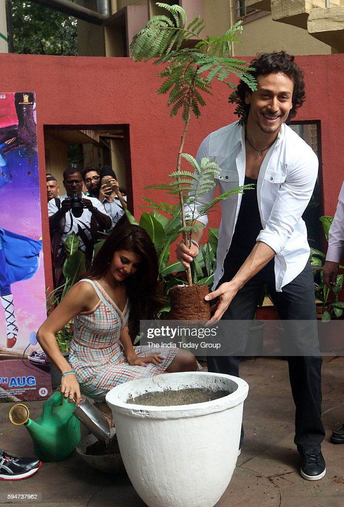 Jacqueline Fernandez and Tiger Shroff during the promotion of film A Flying Jatt at Welingkar Institute in Mumbai
