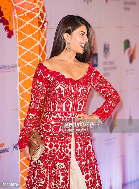 Jacqueline Fernandez arrives at a Bollywood Inspired Charity Gala at the Taj Mahal Palace Hotel during the royal visit to India and Bhutan on April...