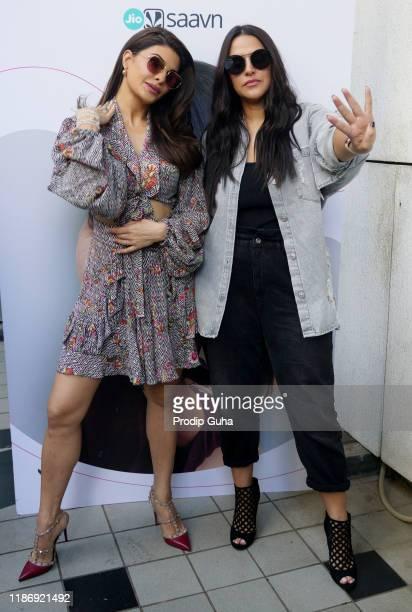 "Jacqueline Fernandez attends the recording of Neha Dhupia's show ""#NoFilterNeha Season 4"" on November 11, 2019 in Mumbai, India."