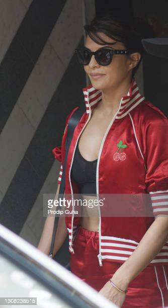 Jacqueline Fernandez is seen at the gym in Juhu on March 21, 2021 in Mumbai, India