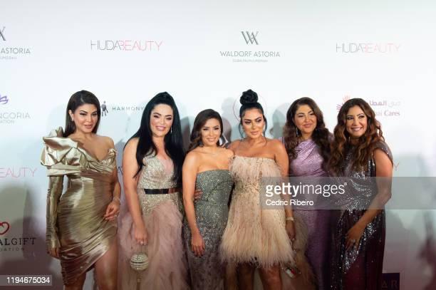 "Jacqueline Fernandez, Mona Kattan, Eva Longoria Baston, Huda Kattan, Sima Ved, & Maria Bravo attend the ""The Global Gift Gala Dubai"" presented by..."