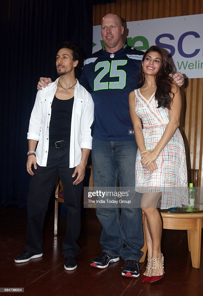 Jacqueline Fernandez Nathan Jones and Tiger Shroff during the promotion of film A Flying Jatt at Welingkar Institute in Mumbai