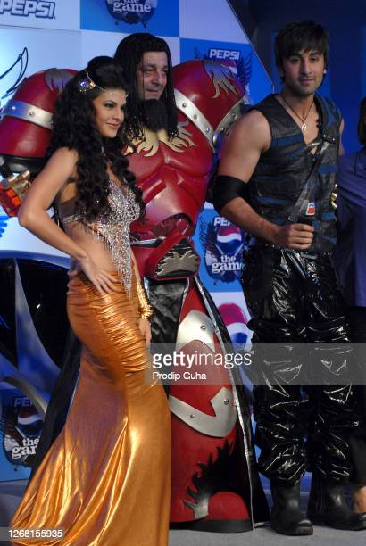 Jacqueline Fernandez, Sanjay Dutt and Ranbir Kapoor attend the launch of the Pepsi Game on March 25, 2010 in Mumbai, India.